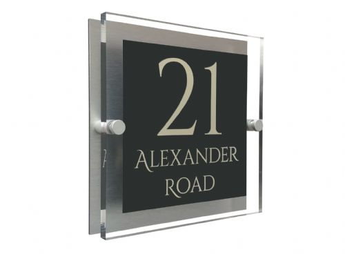 Block Shape - Clear Acrylic House Sign - Anthracite Colour with Double Cream text in Font  1